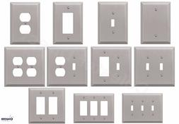 Brushed Satin Nickel Wall Switch Plate Outlet Cover Toggle R