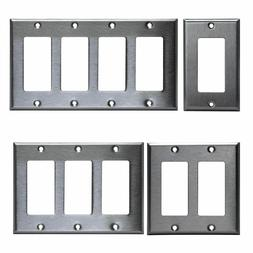 BRUSHED STAINLESS STEEL OUTLET COVER ROCKER SWITCH WALL PLAT