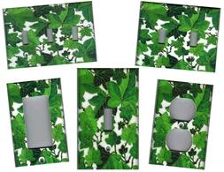 GREEN IVY LEAVES HOME WALL DECOR LIGHT SWITCH PLATES AND OUT