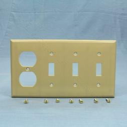 Cooper Ivory 4-Gang Combination Switch Duplex Thermoset Wall