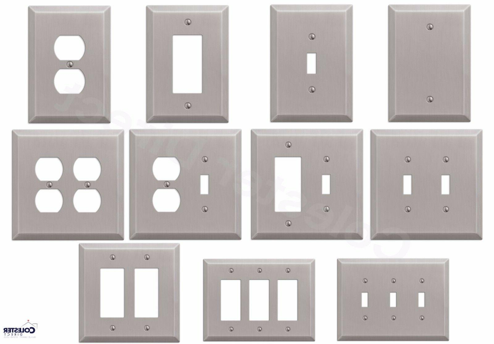 brushed satin nickel wall switch plate outlet