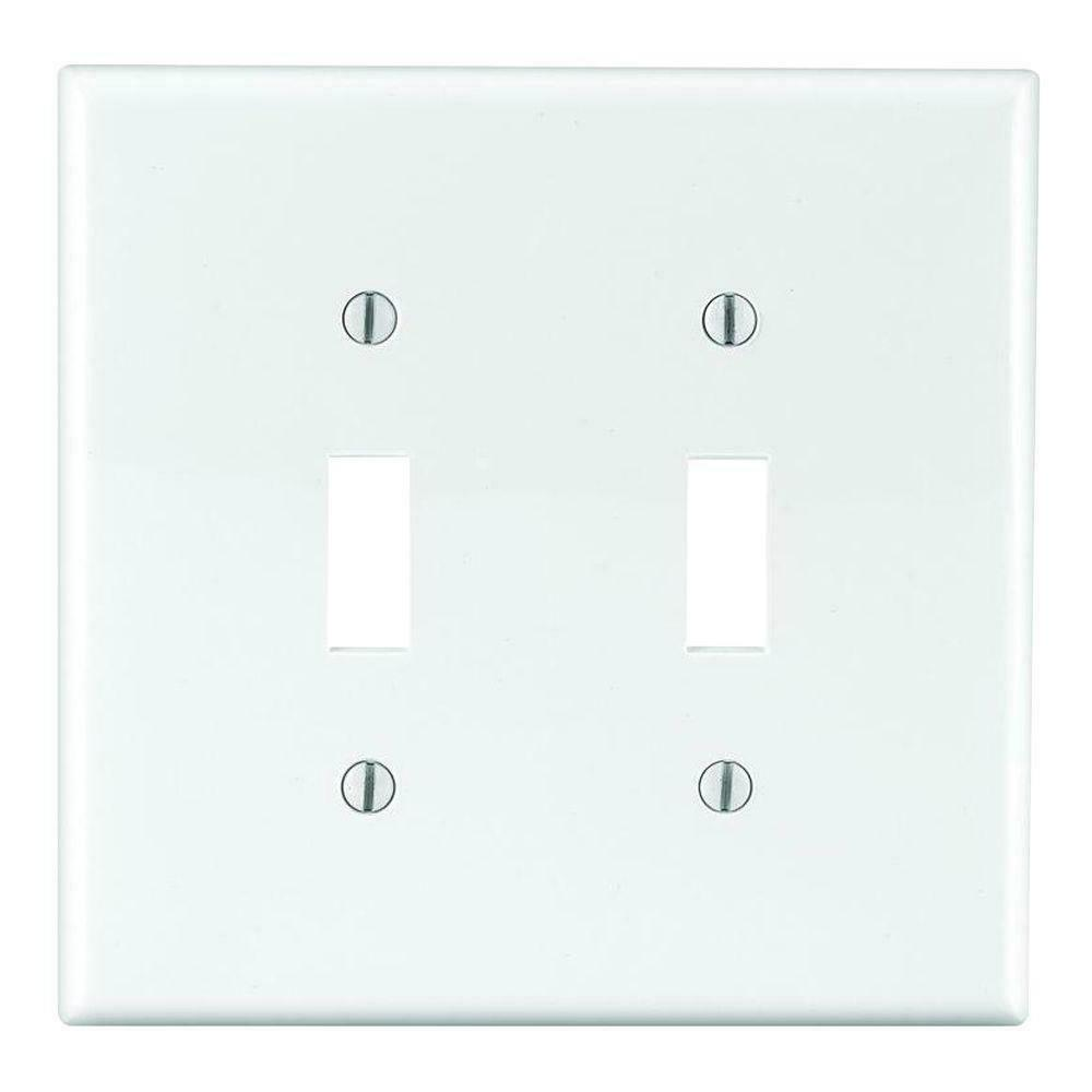 white 2 gang standard toggle switch cover