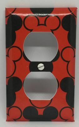 MICKEY MOUSE LIGHT SWITCH COVER PLATES EARS DISNEY RED BLACK