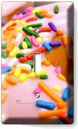 PINK DONUTS RAINBOW SPRINKLES 1 GANG LIGHT SWITCH WALL PLATE