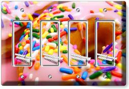 PINK DONUTS RAINBOW SPRINKLES 4 GFCI LIGHT SWITCH WALL PLATE