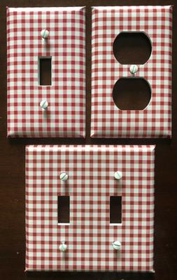 Red White Light Switch Cover Plates Gingham Checkered Countr