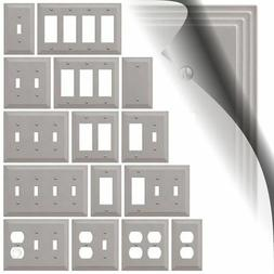 Steps Brushed Nickel Switch Plate Satin WallPlate Duplex Out