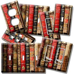 VERY OLD BOOKS BOOKSHELF LIGHT SWITCH OUTLET PLATES HOME LIB