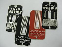 VINTAGE SWITCH PLATES - Delta Unisaw and Delta Mfg styles -
