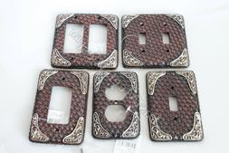 Western Cowboy Rustic Woven Leather Look Silver Accent Switc