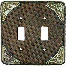 Western Double Light Switch Plate Cover Faux Woven Leather S