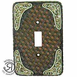 Western Rustic Single Light Switch Plate Cover Faux Woven  S