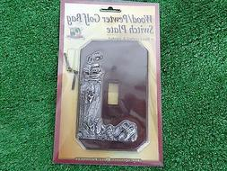 Wood & Pewter Golf Bag Light Switch Plate Hand Crafted & Pai